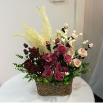 Peony & Tulip Flower Basket (artificial flower)