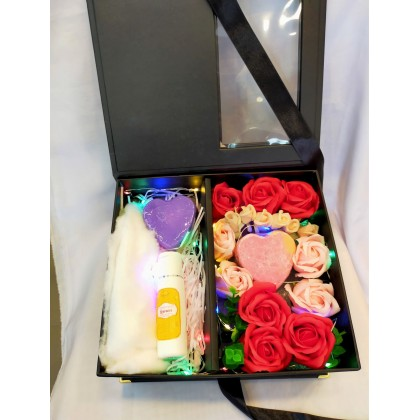 Premium Soap Flower Box with LED light Free bubble net, carry bag and greeting card