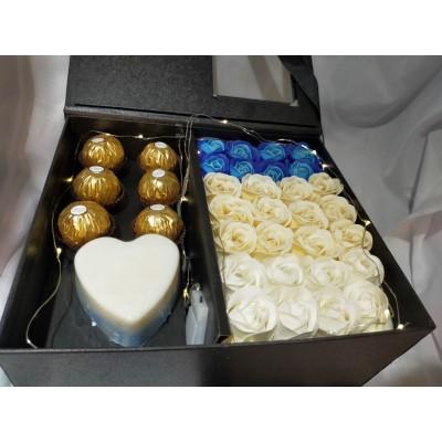 Premium Soap Flower & Ferrero Rocher Chocolate Box for Mothers' Day