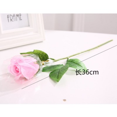 Rose Soap Flower with stem and leaf