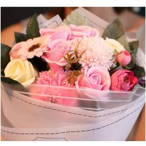 Soap flower bouquet in a gift box with a free greeting card