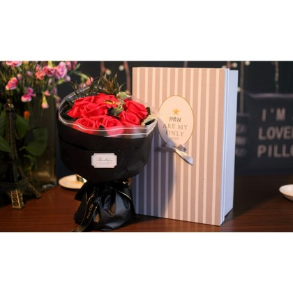 Soap flower bouquet in a gift box with a free greeting card & handmade soap