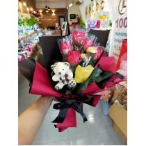 Gift in Bouquet - Soap flowers, Handmade Soap, Ferrero Rocher & a toy