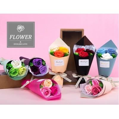 Soap Flower mini bouquet in box (3 roses)