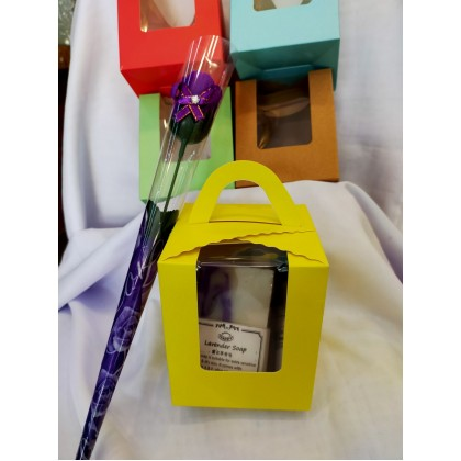 Gift Set-Aroma Candle & Handmade soap set- Free gift box & a soap flower