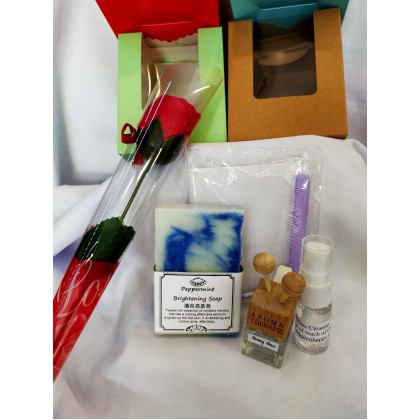 Gift Set-100g Essential Oil Soap, Car diffuser etc Free Soap Flower & gift box