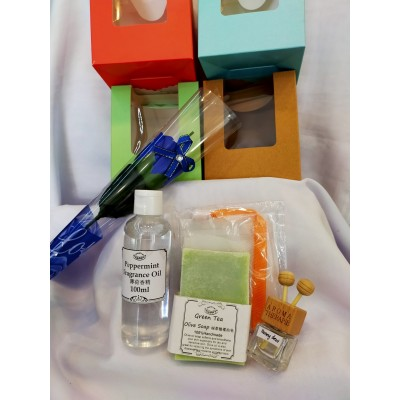 Fathers' Day Gift set- Fragrance Handmade Soap, car diffuser, aroma top up Free Gift box & a soap flower